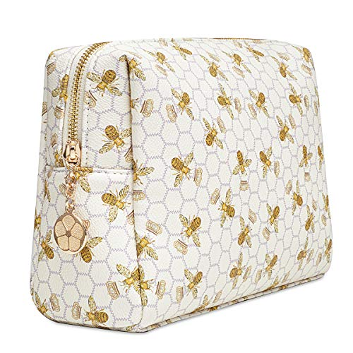Luxury Makeup Bag for Purse Large Women Cosmetic Bags for Toiletry Travel (White)