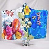 Fineiwillgo Manta con capucha de huevos de Pascua felices, supersuave, para niñas, sofá, fiesta, color blanco, 150 x 200 cm