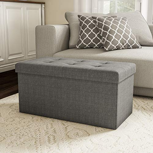 Lavish Home Storage Bench Ottoman Large Folding Tufted Foot Rest Organizer with Removable Bin for Home, Bedroom, or Living Room, Gray