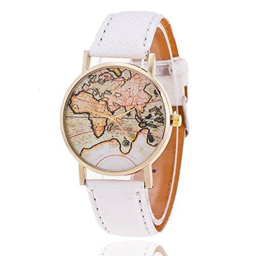 fenkoo Unisex Mapa del Mundo Style Watch/jahrgang/Antiguo Tarjeta de mundo mapa del mundo/Mujer Reloj/Women Premium de piel sintética de reloj de pulsera Blanco blanco