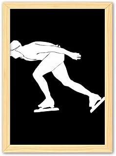 CaoGSH Peinture décorative en bois noir pour sports d'hiver - Cadre photo A4
