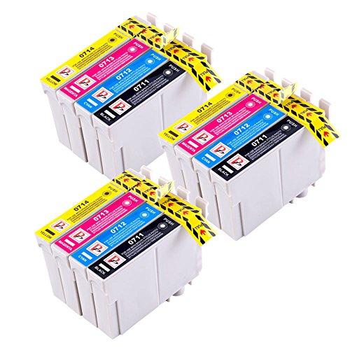 PerfectPrint - 12 Compatible T0715 Cartucho de tinta para Epson Stylus B40W BX300F BX600FW BX610FW BX310FN D120 D120 D78 D92 WiFi DX4000 DX4050 DX5000 DX5050 DX6000 DX4400DX4450 DX7000F DX6050 DX7400 DX7450 DX8400 DX8450 DX9400 WiFi DX9400F S20S21 SX100 SX105 SX110 SX115 SX200 SX205 SX210
