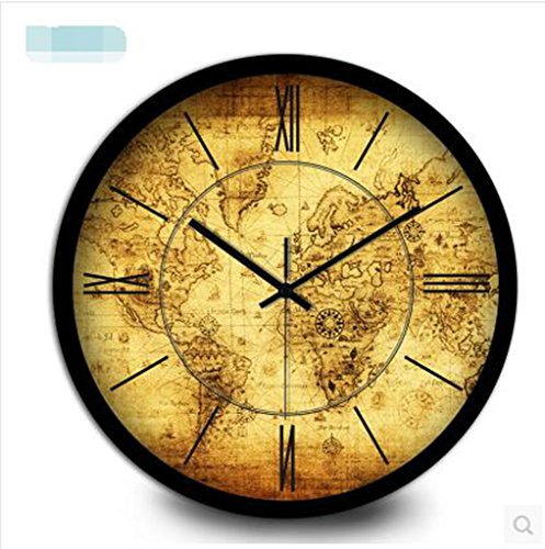 MNMKJH,Continental antike Seekarten Wanduhr, dekorative römischen Ziffern Taschenuhr, elektronische Quarz Wohnzimmer Wanduhr Schlafzimmerwand