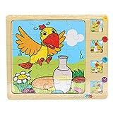 SIPLIV Puzzle en Bois multicouche Puzzle en Bois pour Enfants de 2 à 5 Ans, 4 couches Puzzle pour Enfants éducation précoce renseignement Formation jouet, corbeau