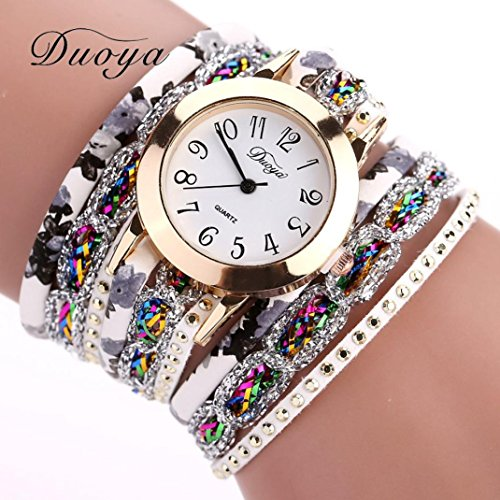 Hunputa 2016 New Watches Women Flower Popular Quartz Watch Luxury Bracelet Women Dress Lady Gift Flower Gemstone Wristwatch (Gold)