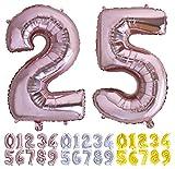 Globo numero 25 o 52 Oro Rosa. Globos Foil Gigante números 2 5 fiestas cumpleaños decoración fiesta aniversario boda tamaño grande 70 cm con accesorio para inflar aire o helio (25/52 Oro Rosa)