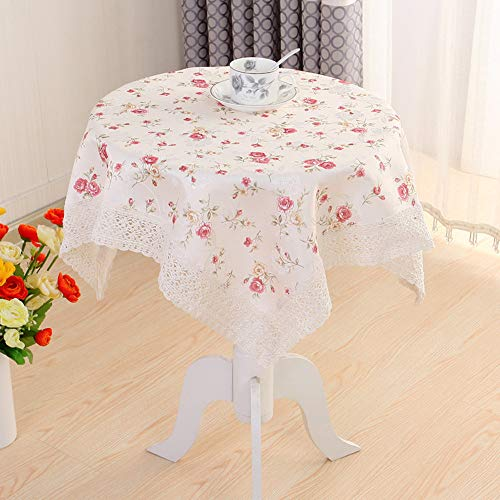 Benbroo Table Cloth Garden Small Round Floral Lace Tablecloth Thick Rectangular (Peony)