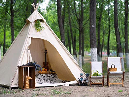 Three-Season Cotton Canvas Pyramid Tent Adult Camping Teepee for 2~3 Person