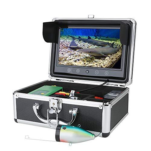 XINTONGSPP Finder di Pesce subacqueo, HD 9 Pollici Fish Finder Subacquea Telecamera da Pesca subacquea15pcs Lampada a infrarossi 1080P Camera LED Bianco per la Pesca del Ghiaccio,30m