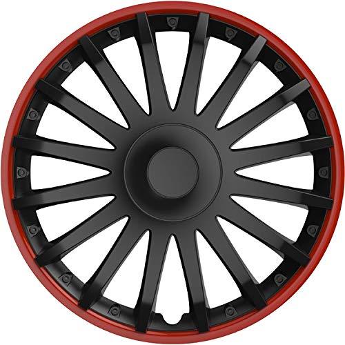 Cartrend 10564 Radzierblenden Almeria in sportlicher Alufelgen-Optik schwarz/rot, 4-teilig, 38,10 cm (15 Zoll) 4er Set