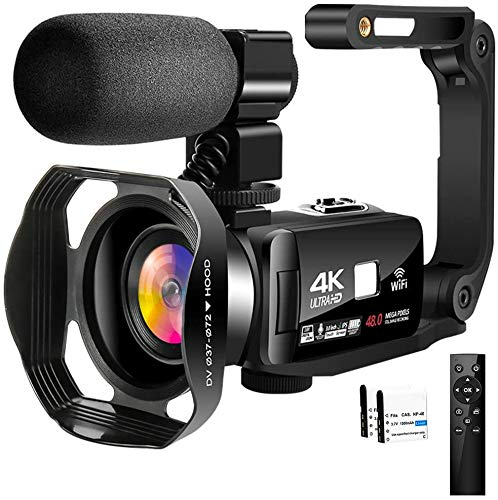 4K Video Camera Camcorder with Microphone 30FPS 48MP Vlogging Camera with Rotatable 3.0 Touch Screen and Time-Lapse Digital Camera IR Night Vision