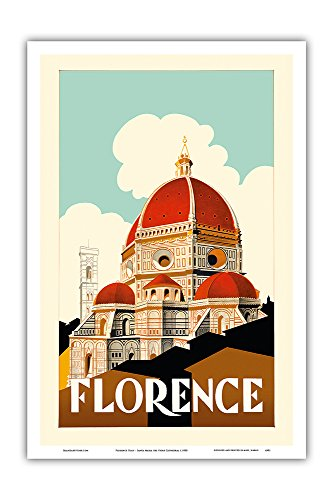 Pacifica Island Art Florence Italy - Santa Maria del Fiore Cathedral, the Duomo of Florence - Vintage World Travel Poster c.1930 - Master Art Print - 12in x 18in