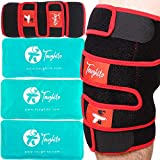 TOUGHITO Knee Ice Pack Wrap - 4 in 1 Hot & Cold Knee Brace for Knee Pain, Bursitis Pain Relief, Knee Injury, Arthritis, Meniscus Tear, ACL, Sprains & Swelling - Plus Ice Pack Sleeve & Strap