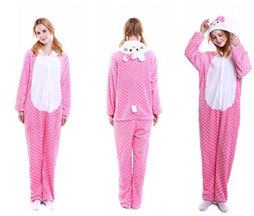 Lolidress - Pijama de una pieza - para mujer Beige Pink Hello Kitty Cat M