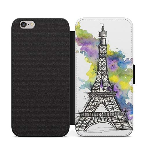 Drawing Water Park Paris Eiffel Tower Love Capital Wallet Leather Flip Phone Case Cover For iPhone X Leather