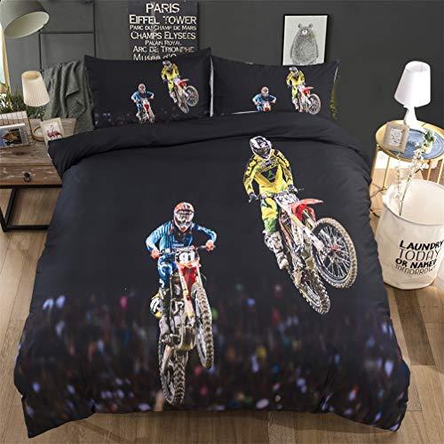 HNHDDZ Bettwäsche-Set Bettbezug und Kissenbezug 3D Motorrad Offroad Akrobatik Farbe Digitaldruck Polyester Reißverschluss Junge Mädchen (Motorrad 4,220x240 cm)