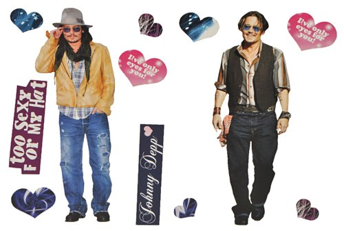 alles-meine.de GmbH XL Set: Wandtattoo / Sticker - Johnny Depp John Schauspieler - Postersticker - Wandsticker Aufkleber Poster