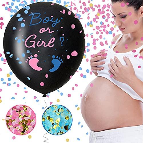Globo de género reveal de 36 pulgadas, con confeti rosa y azul para fiestas de bebé, como baby shower o anuncio de sexo
