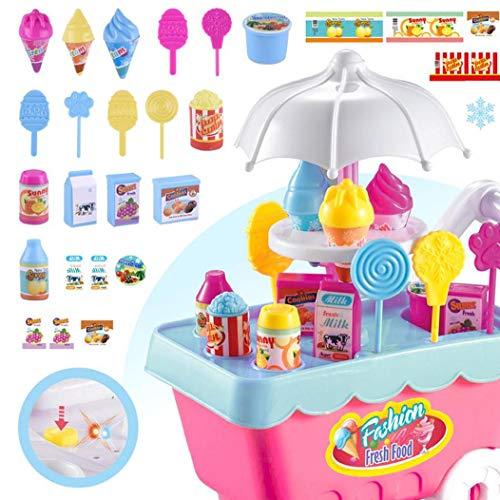 1 Juego de Helado y Caramelo Carretilla Juguetes comestibles Compras Juego de imaginación Set de Regalo de Toys Comida Carro para Niños Color al Azar