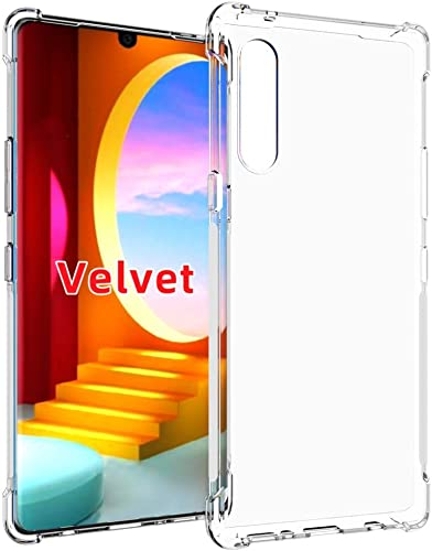 Lustree LG Velvet Bumper Exculsive Silicon Transparent with Anti Dust Plugs Shockproof Slim Back Cover Case for LG Velvet