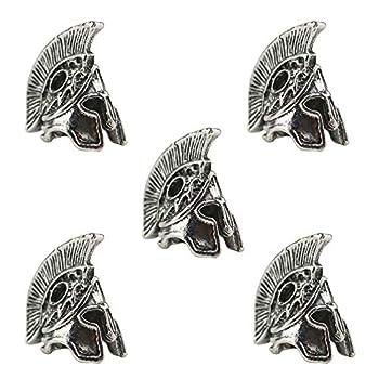 Tinsow 5 PCS Spartan Helmet Paracord Knife Beads - Custom Paracord Lanyard Charms Metal Beard Bead  Sliver