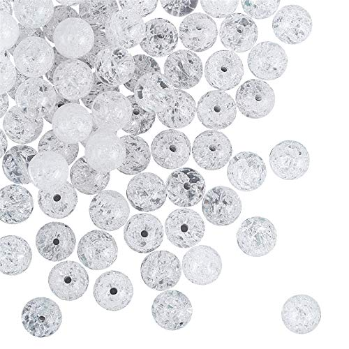 OLYCRAFT 102 pièces 8mm Perles de Cristal Craquelé Naturel Craquelé Perles de Quartz Brins Rondes Perles de Pierres Précieuses en Vrac Pierre D'Énergie pour Bracelet Collier Fabrication