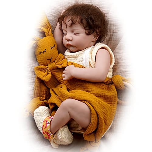 JIZHI Reborn Babies Dolls, 17 inch Handmade Life Like Baby Dolls, Soft Vinyl Body with Feeding Kit, Realistic Newborn Dolls as Prefect Gifts for Children/Mom (Closed Eye Sleeping Babies)