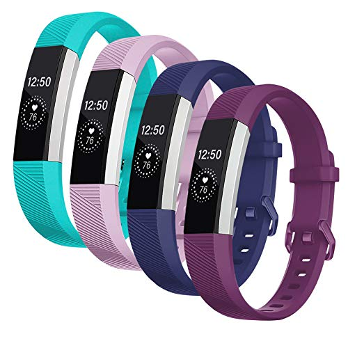 Vitty Armband für Fitbit Alta/Alta HR für Damen und Herren, verstellbares Ersatz-Sportarmband aus Silikon für Fitbit Alta/Alta HR S Pflaume / Blau / Lavendel / Petrol
