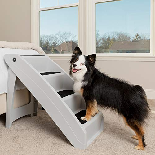 PetSafe CozyUp Folding Pet Steps - Lightweight and Easy to Carry - Protect Your Dog's Joints - High Traction Surface for No-Slip Access - Extra Large - Grey