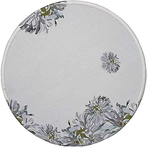 Rubber ronde muismat, Dahlia bloem decor, bloeiende zomer Fusion Papaver kamille zuiverheid pictogrammen van Habitat Art, grijze mosterd