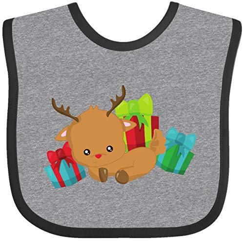 Inktastic Cute Reindeer, Reindeer with Red Nose Baby Bib Heather and Black 3c143
