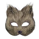 EQLEF Máscara Zorro, máscara de disfraz de zorro con piel larga de zorro artificial y banda elástica ajustable para mascarada fiesta temática de Halloween 1 pieza