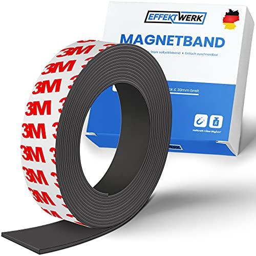 EFFEKTWERK Magnetband - 3m - Magnetband selbstklebend - Magnetstreifen selbstklebend - Magnetklebeband selbstklebend stark - Haftend an Metall-Oberflächen & stark klebend auf glatten Oberflächen