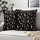 miulee confezione da 2 federe decorazione con motivo piuma d'oro decorative fodere copricuscini arredi per casa divano letto50 x 50 cm nero