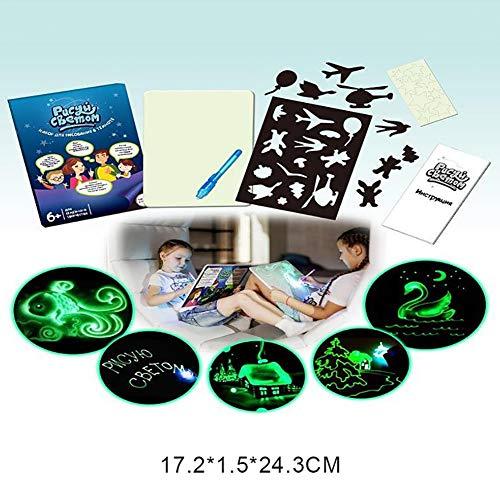 Educación preescolar, color pintura grafiti pintura fluorescente luminoso con mensaje de Manuscrito LED dibujo electrónico reutilizable, agua, tarjetas para colorear bolígrafos mágicos, -, S