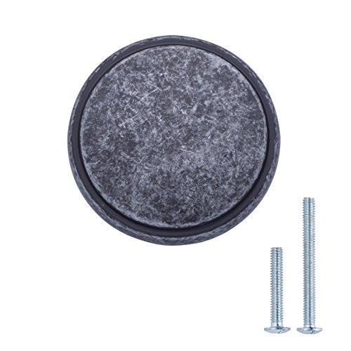AmazonBasics - Pomo de armario, con diseño de aro superior, moderno, ancho, 3,85 cm de diámetro, plata envejecida - paquete de 25