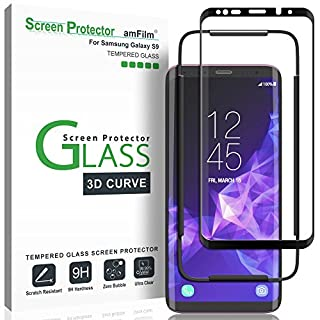 amFilm Glass Screen Protector for Samsung Galaxy S9, 3D Curved Tempered Glass, Dot Matrix with Easy Installation Tray, Case Friendly (Black) (B079Y9H3XT) | Amazon price tracker / tracking, Amazon price history charts, Amazon price watches, Amazon price drop alerts