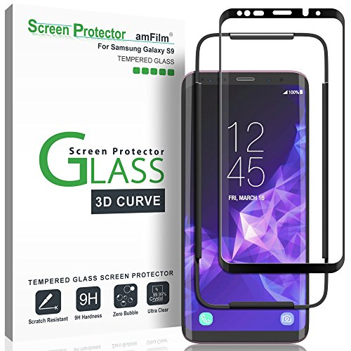 amFilm Glass Screen Protector for Samsung Galaxy S9, 3D Curved Tempered Glass, Dot Matrix with Easy Installation Tray, Case Friendly (Black)