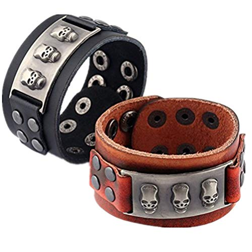 N-brand PULABO - 2 pulseras de cuero hechas a mano con calavera, estilo vintage, punk, aleación, para mujeres, hombres, jóvenes, niñas, ajustables, accesorios portátiles y útiles de alta calidad