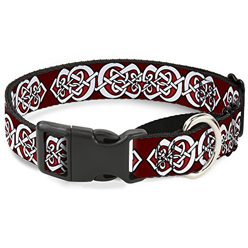 Buckle-Down 'Celtic Knot5 Martingale Dog Collar, Reds/Black/White, 1' Wide-Fits 9-15' Neck-Small