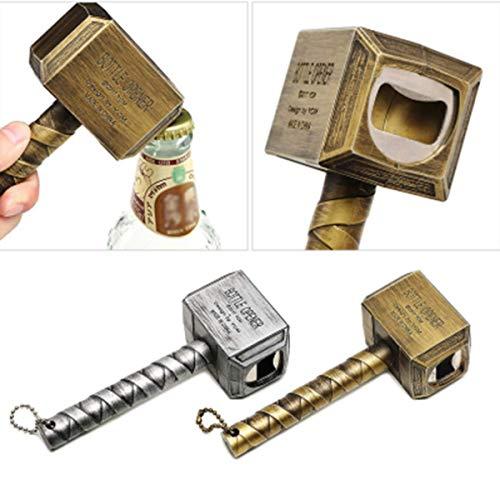 oofay - Apribottiglie a forma di martello Thor personalizzato, magnetico che può essere assorbito, può essere utilizzato per casa, ristorante, bar, regalo per gli amanti della birra (argento)
