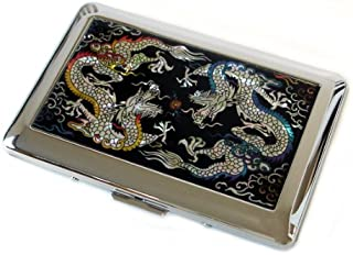 Antique Alive Mother of Pearl Yellow and Blue Dragon Design Engraved Metal Stainless Steel Cigarette Holder Case Storage Box (C102)