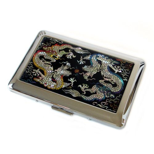 Porte-cigarettes Antique Alive - En acier inoxydable gravé - Motif dragon nacré jaune et bleu (C102)