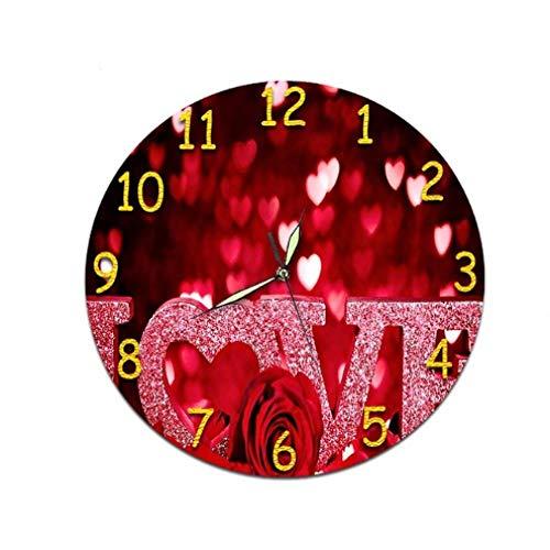 Wjchao Orologio Orologio Digitale da Parete Orologio Rotondo Acrilico Muto Cuore Creativo Orologi da Parete Silenziosi Decorazioni per La Casa Retro San Valentino Soggiorno-Jk126