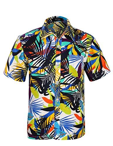 APTRO Herren Hemd Kurzarm Shirt Sommer Hawaiihemd für Strand Freizeit ST19 Weiß XXL