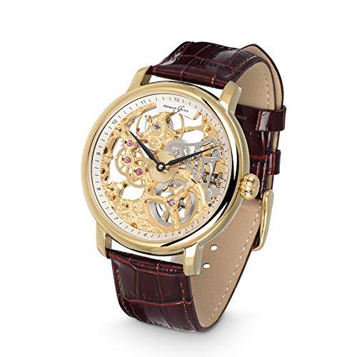 Hermann Jäckle - Wangen Skelettuhr I Armbanduhr mit hochwertigem skelettiertem PTS9211 Uhrwerk I Armbanduhr mit Handaufzug I Armbanduhr mit Lederarmband I Edelstahlgehäuse IP-vergoldet