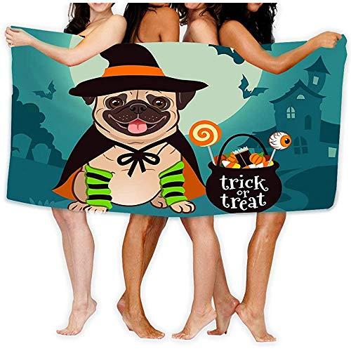 Toalla de Playa Perro Pug de Halloween Vestido como Sombrero de Bruja Caldero del Cabo Perro Perro Pug de Halloween Vestido como Sombrero de Bruja Caldero del Cabo Toallas de baño