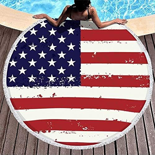 Bandera de los Estados Unidos Toalla de Playa Redonda Gruesa con Estampado de Rayas de Estados Unidos con borlas Toallas de baño con Flecos Bohemios Blanco 59 pulgadas-Blanco-59 PU