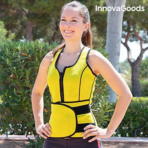 InnovaGoods Mujer-L Chaleco-Faja Deportivo con Efecto Sauna, Amarillo