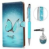 KASOS Custodia per ASUS Zenfone 3 Max ZC553KL 5.5' Cover Flip Case Pelle PU Cuoio Morbida Libro Portafoglio Wallet Modello Farfalla